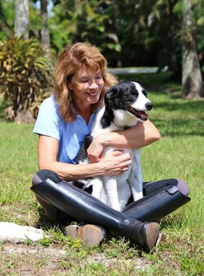 Marti hugging dog Lark